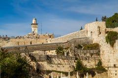 Mughrabi bro, gammal stad av Jerusalem Royaltyfria Foton