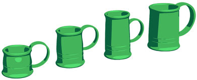 Mugs. Set of mugs as poster or comics style vector drawings. The mugs itself made by my own original design Stock Photos