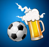 Mugs of beer Soccer Ball Stock Photos