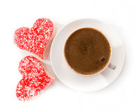 Mugs of coffee with sweet heart Royalty Free Stock Image