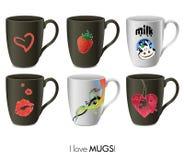 Mugs collection. An illustration of six modern mugs Royalty Free Stock Photography