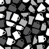 Mugs and cups black and gray seamless pattern Royalty Free Stock Photo