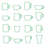 Mugs and cups black outline icons set Stock Image