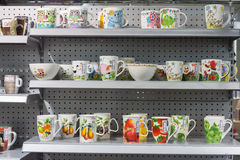 Mugs on display at HOMI, home international show in Milan, Italy Stock Photography