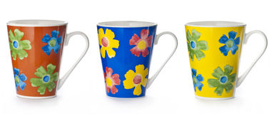 Mugs with floral abstract Stock Image