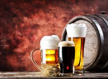 Mugs and glasses with light dark beer Royalty Free Stock Photography