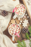 Mugs with hot chocolate, murshmallow and candy cane on wooden tr Royalty Free Stock Photos