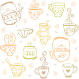 Mugs kettles pattern Royalty Free Stock Images