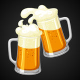 Mugs with light beer and froth. Illustration for Oktoberfest.  Stock Images
