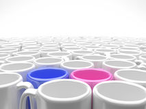 Mugs in love with depth of field 002 Royalty Free Stock Photos