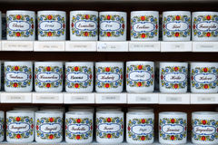 Mugs with names. Sold in souvenir shop in St. Gilgen on Wolfgang See lake, Austria Royalty Free Stock Images