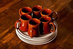 Mugs Plates Stack Royalty Free Stock Photos