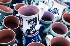 Mugs from pottery stock photography