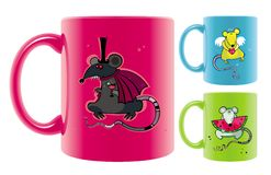 Mugs with rats drawings. Royalty Free Stock Photography