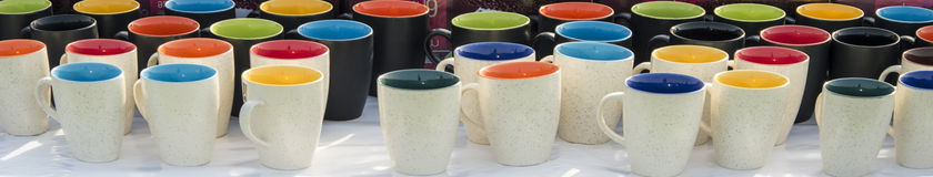 Mugs on sale Royalty Free Stock Photography