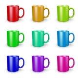 Mugs Set on White Royalty Free Stock Photography