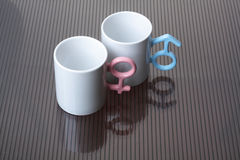 Mugs with shaped handles. White mugs with shaped handles Royalty Free Stock Photo