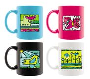 Mugs with summer drawings Stock Photography