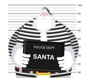 Mugshot Święty Mikołaj przy departamentem policji Kubka strzału boże narodzenia Ar royalty ilustracja