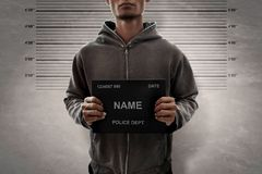 Mugshot del hombre de Potrait del criminal Fotos de archivo libres de regalías