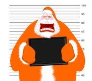 Mugshot of Santa Claus orange prisoner clothing. Mug shot of Christmas police station. Arrested Bad Santa is holding black plate. Grandpa Photo delinquent in vector illustration