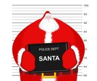 Mugshot Santa Claus at Police Department. Mug shot Christmas. Ar. Rested Bad Santa holding black plate. Grandpa Photo Prisoner in custody for new year. offender royalty free illustration