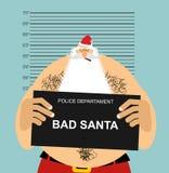 Mugshot Santa in police. Bad Claus criminal. Naughty Santa with. Cigar. crime Christmas. suspect new year stock illustration