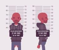 Mugshot of a young black man. Taken after arrest. Cartoon vector flat-style concept illustration vector illustration