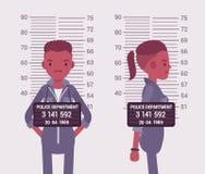Mugshot of a young black woman. Taken after arrest. Cartoon vector flat-style concept illustration vector illustration