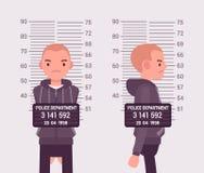 Mugshot of a young white man. Taken after arrest. Cartoon vector flat-style concept illustration royalty free illustration
