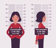 Mugshot of a young white woman. Taken after arrest. Cartoon vector flat-style concept illustration vector illustration