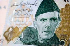 Muhammad Ali Jinnah en billete de banco Fotos de archivo libres de regalías
