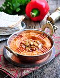 Muhammara dip of sweet peppers with walnuts, cumin, garlic and olive oil. Stock Image