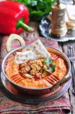 Muhammara dip of sweet peppers with walnuts, cumin, garlic and olive oil. Stock Images