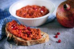 Muhammara roasted red bell pepper spread like ajvar relish Stock Images
