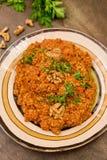 Muhammara traditional Arabic mezze. Lebanese food. Muhammara traditional Arabic mezze. Traditional spicy lebanese dish made of sweet peppers with walnuts, cumin Royalty Free Stock Photos