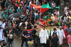 Muharam Observed Bangladesh. Member of Shia Community takes out a huge Tazia procession in the city of Dhaka on memories of karbala in Muharam  at Dhaka Royalty Free Stock Image