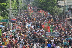 Muharam Observed Bangladesh. Member of Shia Community takes out a huge Tazia procession in the city of Dhaka on memories of karbala in Muharam  at Dhaka Royalty Free Stock Images