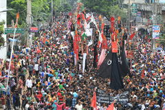 Muharam Observed Bangladesh. Member of Shia Community takes out a huge Tazia procession in the city of Dhaka on memories of karbala in Muharam  at Dhaka Stock Photo