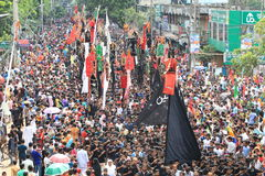 Muharam Observed Bangladesh. Member of Shia Community takes out a huge Tazia procession in the city of Dhaka on memories of karbala in Muharam  at Dhaka Stock Photos