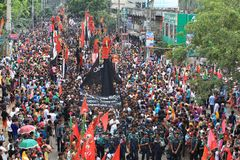 Muharam Observed Bangladesh. Member of Shia Community takes out a huge Tazia procession in the city of Dhaka on memories of karbala in Muharam  at Dhaka Stock Images