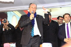 Muharrem Ince declared Ali KILIC as candidate. ISTANBUL - MARCH 16, 2014: CHP deputy parliamentary group chair Muharrem Ince declared Ali KILIC as their Stock Image