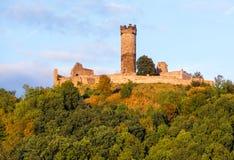 Muhlburg在图林根州,德国的堡垒废墟 免版税库存照片