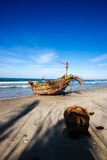 Mui Ne Fishingboat. A Fishingboat on the beach in the Mui Ne fishing village royalty free stock photo