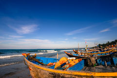 Mui Ne Fishingboats. Fishingboats on the beach in the Mui Ne fishing village stock image