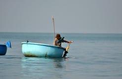 Vietnamese fisher fishing in Mui Ne, Vietnam Stock Photography