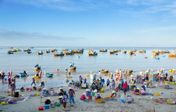Vietnamese fishers. MUI NE, VIETNAM - FEBR 27: Mui Ne is a popular tourist attraction in Vietnam. A lot of fishers sort out their catch on the shore and sell Royalty Free Stock Image