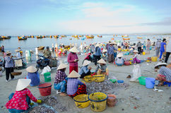Vietnamese fishers at work Stock Photography