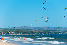Kitesurfers in Vietnam Royalty Free Stock Images