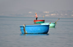 Vietnamese fisher fishing in Mui Ne, Vietnam Stock Images